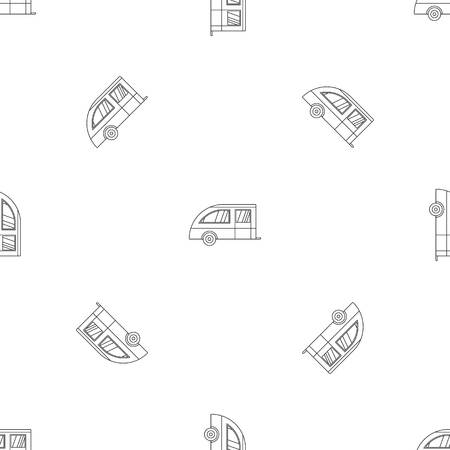 Camping trailer pattern seamless vector repeat geometric for any web design Vettoriali