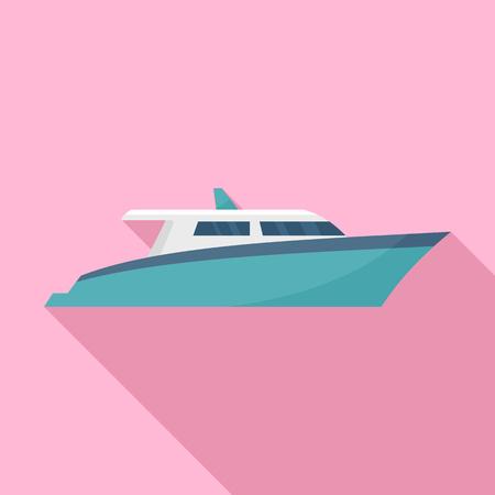 Speed motor yacht icon. Flat illustration of speed motor yacht icon for web design