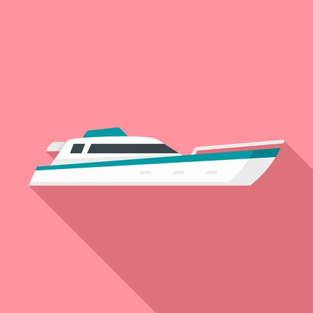 Sea motor ship icon. Flat illustration of sea motor ship icon for web design