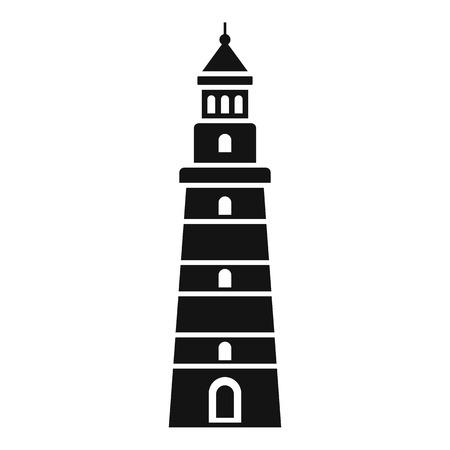 Warning lighthouse icon. Simple illustration of warning lighthouse icon for web design isolated on white background