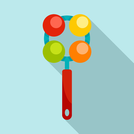 Ball rattle toy icon. Flat illustration of ball rattle toy icon for web design