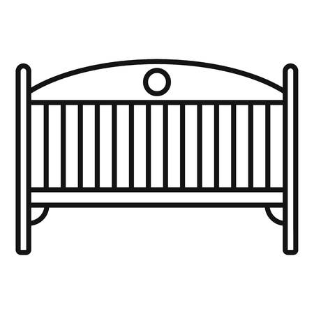 Baby crib icon. Outline baby crib icon for web design isolated on white background