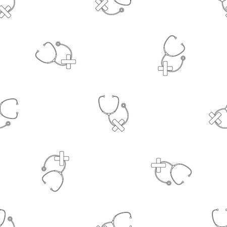 Stethoscope cross bandage icon. Outline illustration of stethoscope cross bandage icon for web design isolated on white background Banco de Imagens
