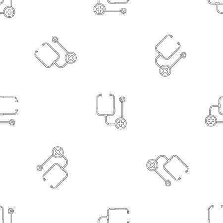 Stethoscope icon. Outline illustration of stethoscope icon for web design isolated on white background 版權商用圖片