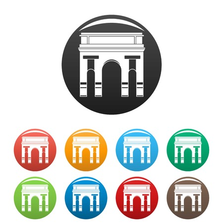 Historical arch icons set 9 color isolated on white for any design