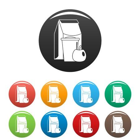 Lunch apple pack icons set 9 couleur isolé sur blanc pour toute conception