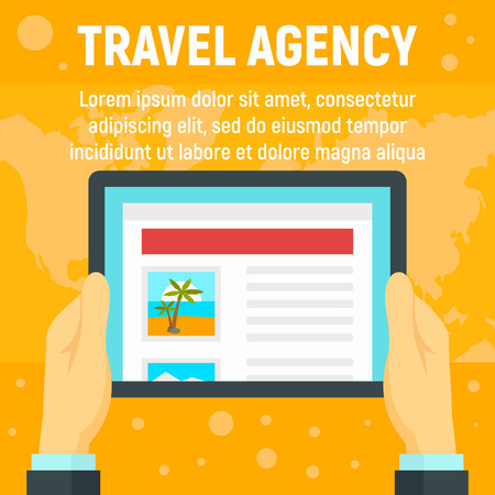 Online travel agency concept background. Flat illustration of online travel agency concept background for web design Stock Photo