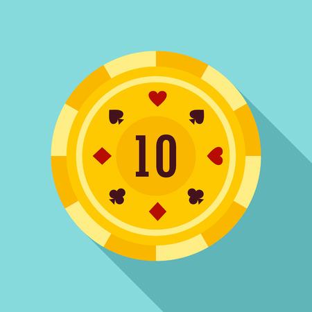 Gold casino chip icon. Flat illustration of gold casino chip icon for web design Stockfoto - 122333303
