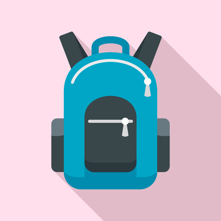 Bike backpack icon. Flat illustration of bike backpack icon for web design