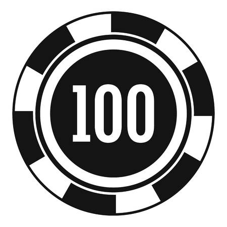 Casino chip 100 icon. Simple illustration of casino chip 100 icon for web design isolated on white background