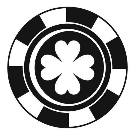 Casino chip clover icon. Simple illustration of casino chip clover icon for web design isolated on white background