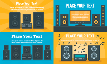 Stereo system banner set. Flat illustration of stereo system banner set for web design