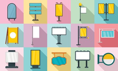 Outdoor advertising icons set. Flat set of outdoor advertising icons for web design