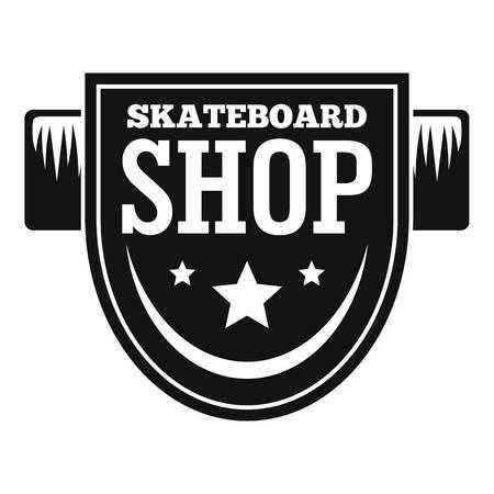Skateboard shop logo. Simple illustration of skateboard shop logo for web design isolated on white background Stock Photo