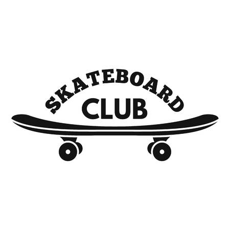 Skateboard club logo. Simple illustration of skateboard club logo for web design isolated on white background