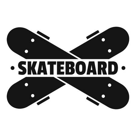 Crossed skateboard logo. Simple illustration of crossed skateboard logo for web design isolated on white background