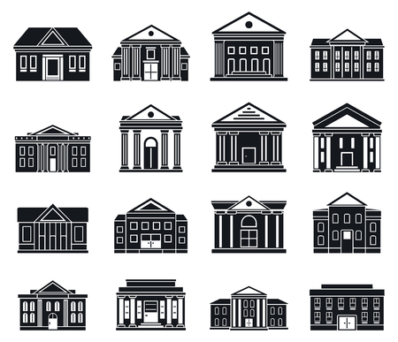 Courthouse building icons set, simple style Stok Fotoğraf