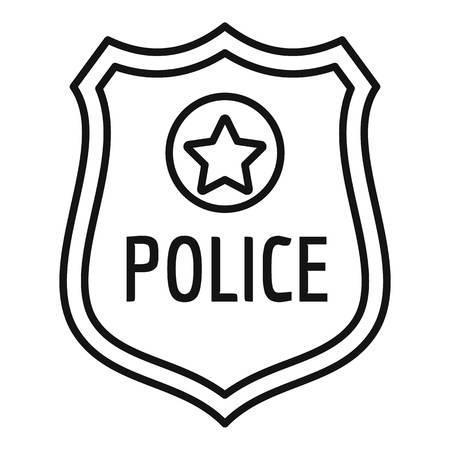 Police gold emblem icon, outline style Reklamní fotografie