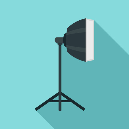 Studio light stand icon, flat style Stock Photo