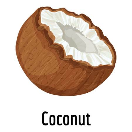 Coconut icon, cartoon style