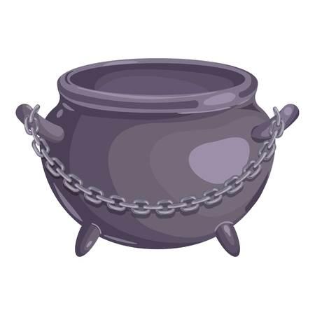 Cauldron with chain icon, cartoon style