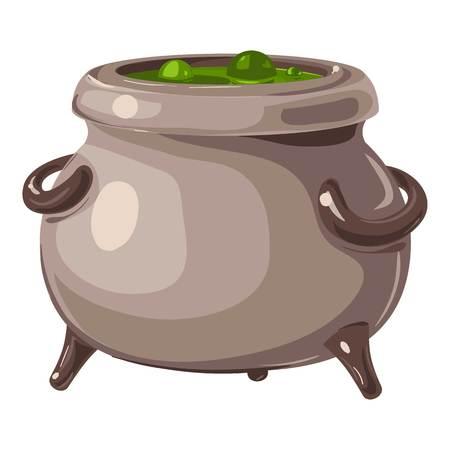 Magic potion cauldron icon, cartoon style
