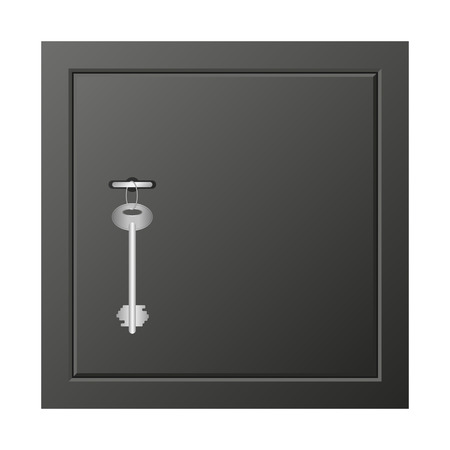 Metal safe with key icon, realistic style