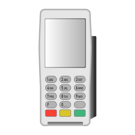 White pos terminal icon, realistic style Banco de Imagens - 122455992