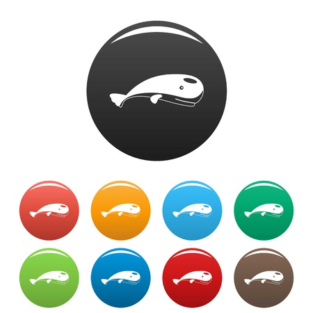 Mammal whale icons set color