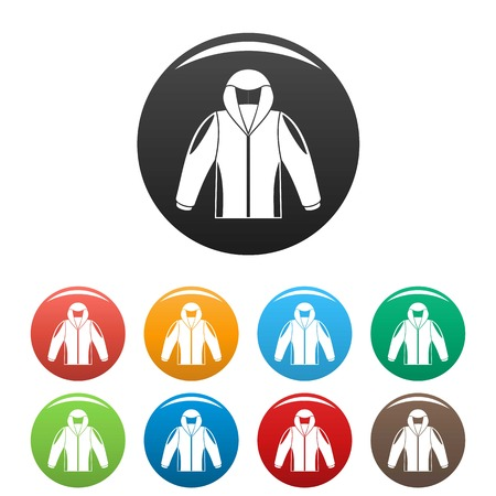Camp jacket icons set color