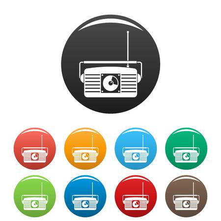 Radio receiver icons set color