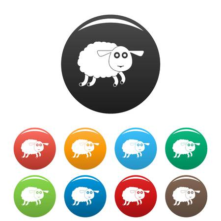 Sheep icons set color