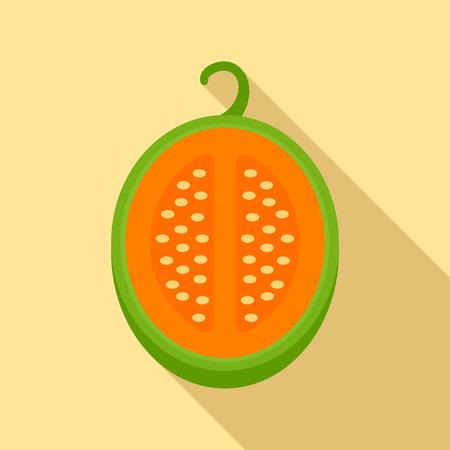 Green melon icon, flat style