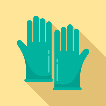 Forensic lab gloves icon, flat style