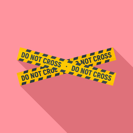Do not cross police line icon, flat style Standard-Bild - 122497576