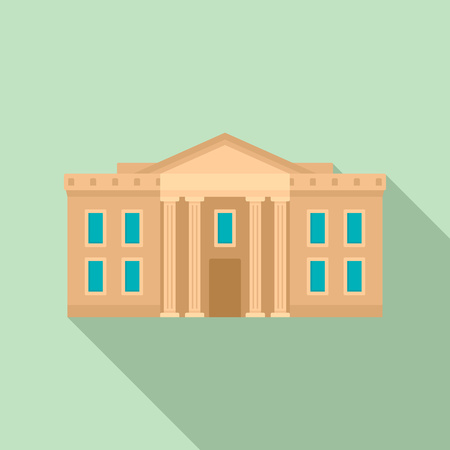 Museum courthouse icon, flat style