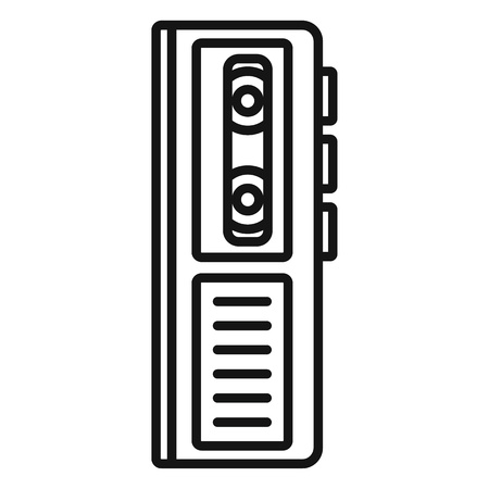 Cassette dictaphone icon, outline style Stock Photo
