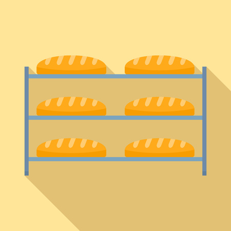 Bread in factory shelf icon, flat style Banque d'images