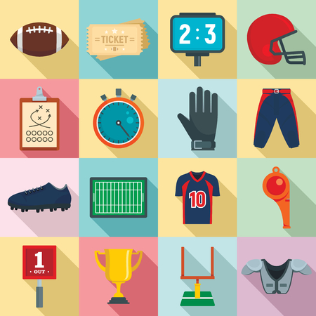 American football equipment icons set, flat style