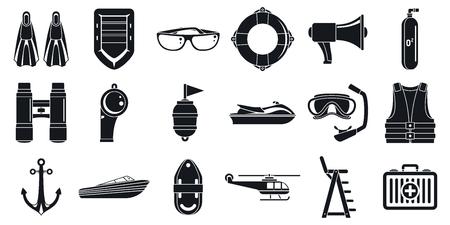 Rettungs-Seesicherheitssymbole eingestellt, einfacher Stil