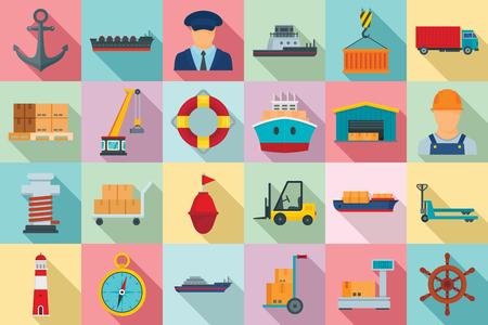 Marine port icons set, flat style