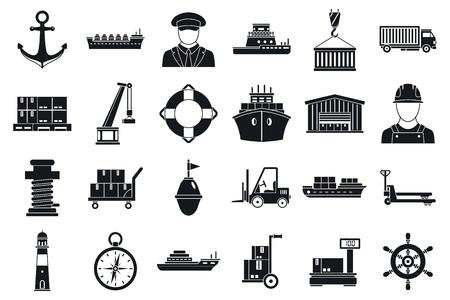 Marine port transport icons set, simple style
