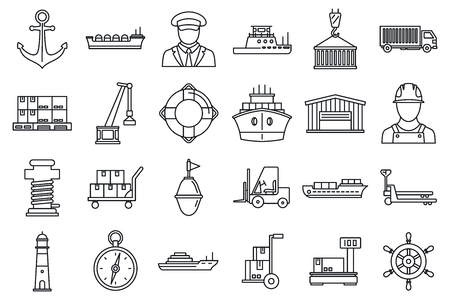 Marine port transport icons set, outline style