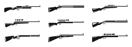 Sniper hunting rifle icons set, simple style Imagens