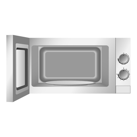 Modern open microwave icon, realistic style