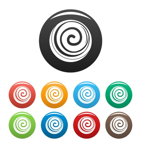 Spiral cake icons set color