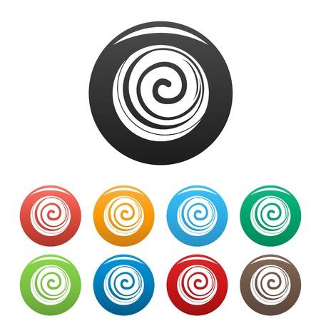 Spiral cake icons set color