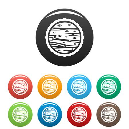 Nuts on cake icons set color