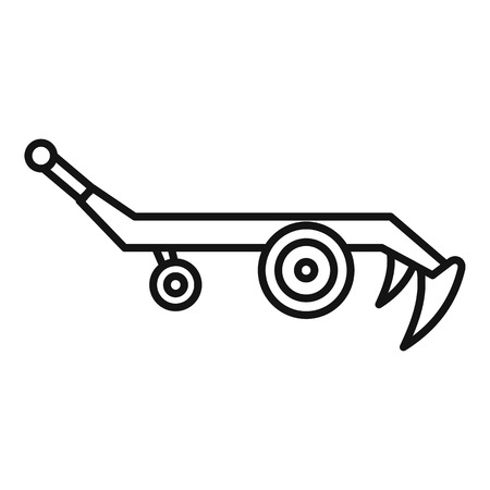 Tractor plow icon, outline style