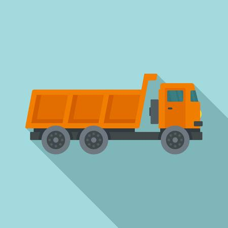 Loaded farm truck icon, flat style